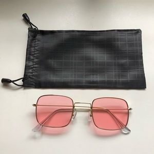 New Pink Gold Rectangle Square Sunglasses